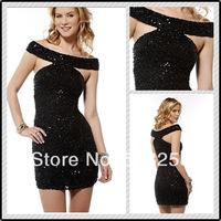 ECD21 High Cap Sleeve Mini Lace Sequin Black Cocktail Dresses Prom Dresses Custom made