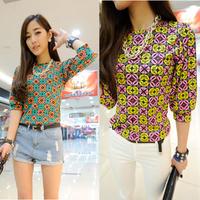 FreeShipping New Womens Geometric Floral Print Chiffon Tops T-Shirt Short Sleeve Blouse Shirt DropShipping