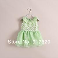 high quality dress baby girls green lace dress kids 2014 5pcs/lot