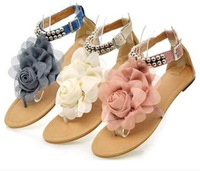 2014  Fashion Girl Flat Beads Flower Sandal Shoes Women's Sandal Shoes 3 colors size; 34-43