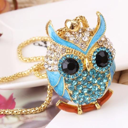 Hot sale jewelry fashion unique rhinestones temperament lovely owl women necklace X5239