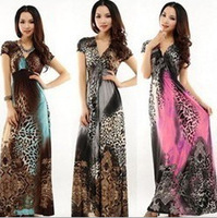 Bohemian Women Summer & Spring Dress Casual Print Long Dress Plus Size Slim Party Beach Vacation 2014 New Free Shipping