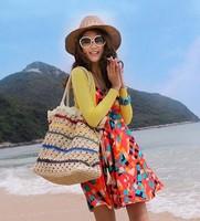 Fashion crocheted 2014 straw bag woven bag beach bag one shoulder handbag women's handbag casual bag
