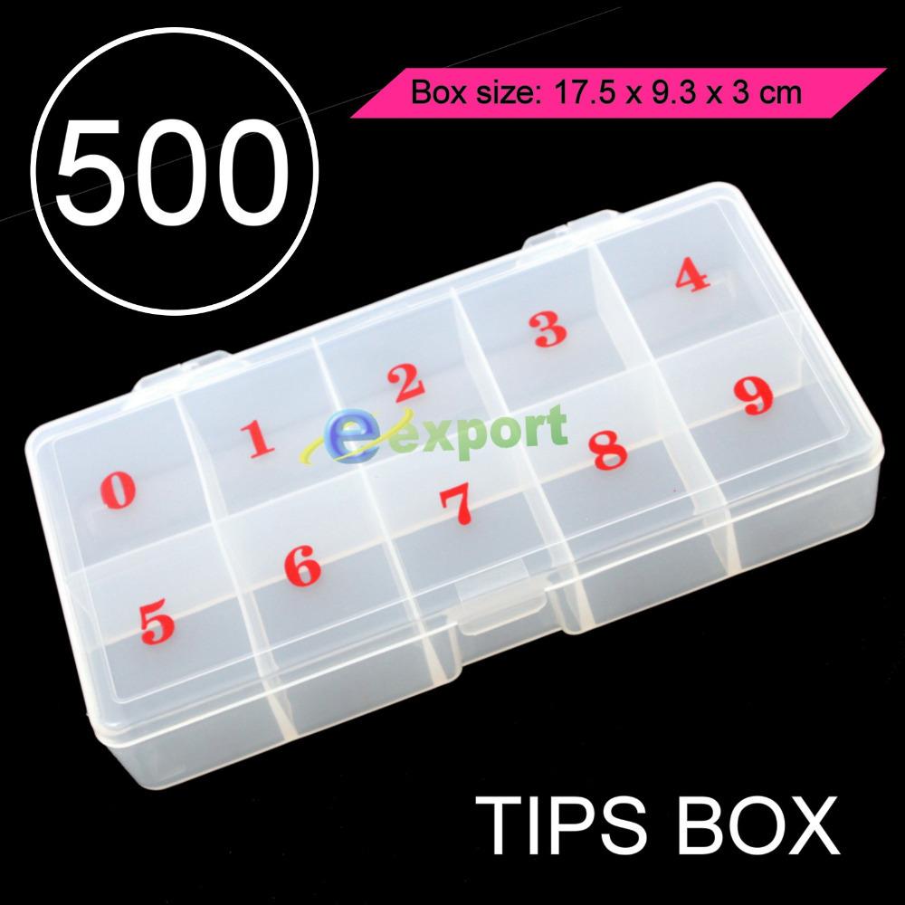 1PCS STORAGE PLASTIC EMPTY BOX CASE FOR NAIL ART SALON TOOL - 500 PCS FALSE TIPS(China (Mainland))
