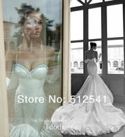 2014 Charming Sweetheart Trumpet Mermaid Taffeta Wedding Dresses Beads Ruffle Sweep Train Bridal Gowns yk8R701