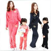 2014 autumn velvet set family fashion clothes for mother and son autumn children's clothing set