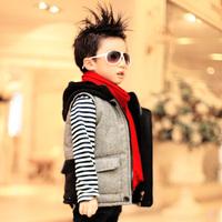 Children's clothing male child 2013 horse jacket fashion plaid vest general boy child outerwear thickening