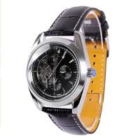 Free Shipping New 2014 Men Leather Strap Mechanical Hand Wind Watches 3 Eyes Vintage Skeleton Analog Relogio Masculino Black Hot