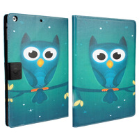 "Cartoon Owl Wallet Leather Case For iPad Air iPad 5 9.7"" with Stand Function & ID Card Window  Blue + Free Shipping"