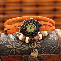 Free Shipping Wholesale Dropship 2014 Hot Sale Fashion Watch Flower Vintage Leather Sunflower Quartz Watches Ladies Leather
