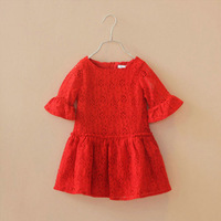 2014 Fashion Children Girl's Beauty Dress,Red White Summer One-piece Princess Dress Girl Half Sleeve Lace Cutout flare sleeve
