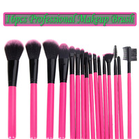 16Pcs Makeup Brushes Kit Professional Cosmetic Make Up Set + Pouch Bag Case