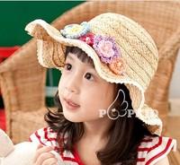 Wholesale new children's cap korea fashion children summer straw knitted flower sun hat sport cap 3-7 years old