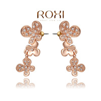 Wholesale ROXI Fashion Accessories Jewelry Gold Plated Austria Crystal Full CZ Diamond Butterfly Flower Stud Earrings for Women