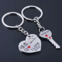 I LOVE YOU,Trinket heart and key couple Keychain novelty items,wholesale (12pair/lot) ring key souvenir birthday gift