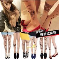 50pcs/lot Fashion Fake Tattoo Stockings Super Thin Sexy Socks Panty-hose/leggings Free Shipping