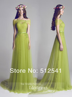 2014 Newest Summer Green Prom Dresses Sheath Sweetheart Ruched Pleat Applique Lace Girl Gowns yk8R704