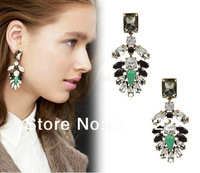 Free shipping!Hot sale 1 Pair European and American big Pierced tassel rhinestone and beads water drop leaf  earrings