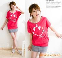 Clearance Sale fashion women 2015 clothes plus size cotton cute smile print  t-shirt korean homies tee shirts C253