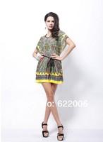 2014 New Summer Women's clothing , Bohemian National costumes,High quality,Fashion Casual dress, ice silk, big yards, bat sleeve