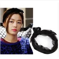 Beauty 6pcs/lot DIY Retail Dots Lace Hair Band Black Bowknot Headband Headwear