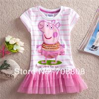 Retail New 2014 Girls Dress Kids Wear Baby Dresses Casual Peppa Pig Girls Lace Dresses Costumes kids Cartoon Wear Girl Clothes
