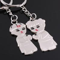 New Couple Metal Keychain product,Wholesale (12pcs/lot) Zinc Alloy Heart's Keychain llaveros women handbag souvenirs