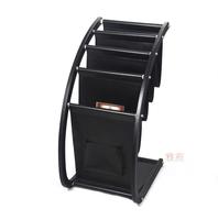Журнальная стойка wooden struction leather floor magazine book exhibition rack shelf organizer holder croco brown 230A