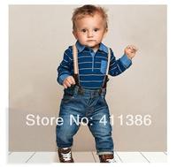 SY050 Free shipping children's clothing set baby boy cotton striped romper + jean pants 2pcs suit  infant denim clothing retail