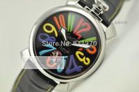 Gaga large dial rose gold manual mechanical strap watch gaga2013