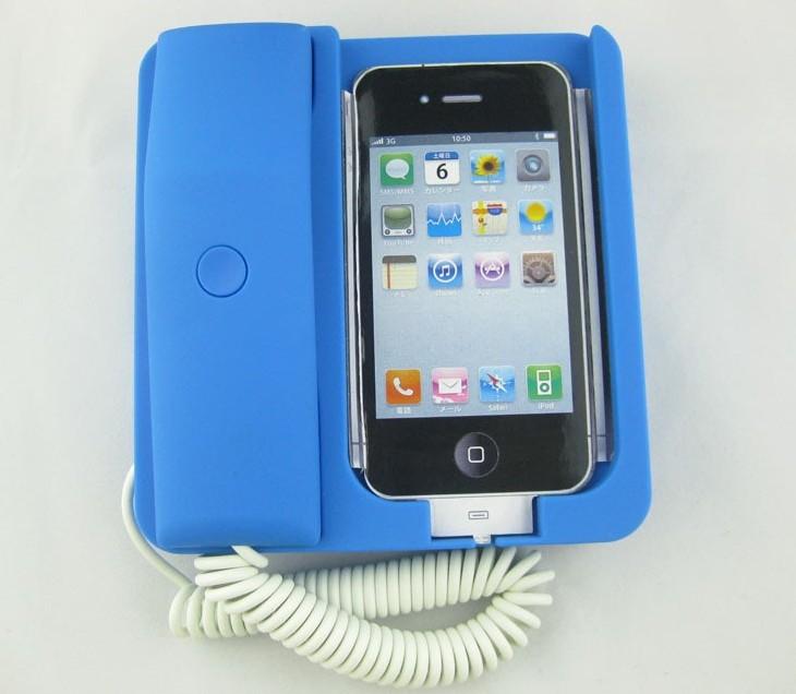 Retro Telephone Landline Dock Handset For iPhone 3G 4G MP02 Blue(China (Mainland))