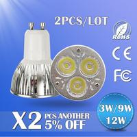 2PCS/LOT 2014 New gift LED spotlight 3w/9w/12w dimmable led lamps gu10 led lighting 220v led bulb free shipping
