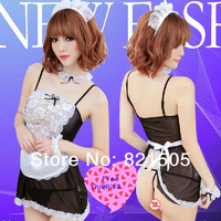 Free Shipping Women's Sexy Maid Costume Dress Sexy Lingerie Cosplay Sleepwear With G-string headwear Neckwear Wristband