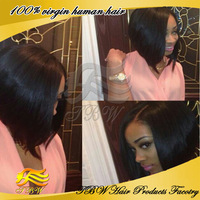 Bob Style Left Part Brazilian Virgin Human Hair bob Wig Silky Straight full lace bob wig with natural hairline for black women