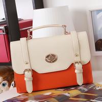 Small fresh preppy style vintage messenger bag candy color women's handbag color block shaping day clutch cross-body shoulder