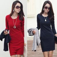 2014 spring women's plus size slim long-sleeve basic patchwork hip ol slim one-piece dress