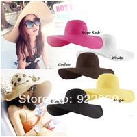 Wholesale and Retail Fashion Women Wide Large Brim Floppy Summer Beach Sun hat Straw Hat Cap with random big bow ribbon