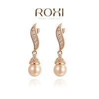 Wholesale ROXI Fashion Accessories Jewelry Austria Crystal Full CZ Diamond Pearl Drop Earrings for Women