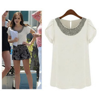 New 2014 Summer Casual Women Chiffon Beading Blouses Short Puff Sleeve Loose Shirts, White, Pink, 7 Size S-4XL