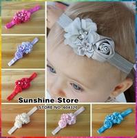Infant Flower headband 12 color Baby pearl chiffon fabric flowers children hair band Baby girl tiaras infantil #2F0059 24pcs/lot