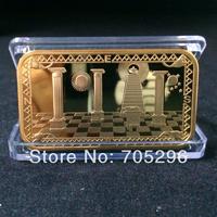 2014 New arrival sample order 1 pcs /lot free shipping 1 oz 24 k gold plated Masonic Freemasonry  bullion bars