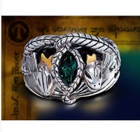 Freeshipping 15pcs/ lot Barahir of Ring of Aragorn platinum plated alloy with green stone form THE Lord of ring