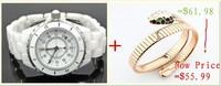 2014 fashion luxury Brand woman lady girl Dress Quartz Wristwatch white ceramic watch Christmas / Valentine's Day gift
