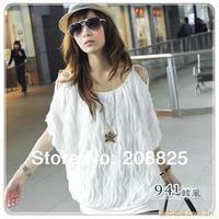 Brand New Women Tops, Korean Tripe Wave Batwing Sleeve T-Shirts,White Black Free Size Chiffon Women Blouses 2014 Summer