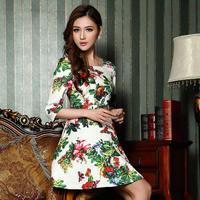 Новая летняя мода женщин высокой талией бабочка печати выпускное сексуальное мини-платье шифон desigual девушка партия платья Одежда