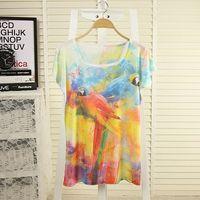 2014 fashion women plus size fashion causal spring summer t intergards short-sleeve loose batwing sleeve t-shirt