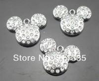DIY Fashion Pendant accessories 100pcs/lot Rhinestone mickey mouse hang charm
