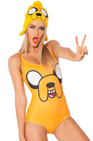 free shipping Jake teddy swimwear cartoon head portrait sexy yellow triangle one-piece swimsuit