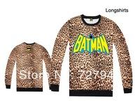 2014 new arrival Batman leopard Sweatshirts men's hip hop long sleeve tee womens sweaters sportswears Free Shipping Size S-XXL
