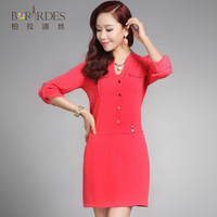 2014 spring comfortable formal V-neck long-sleeve mid waist one-piece dress female